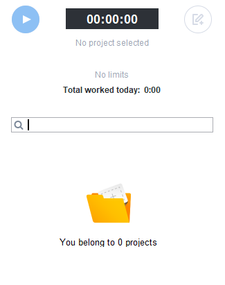 No projects/tasks in app