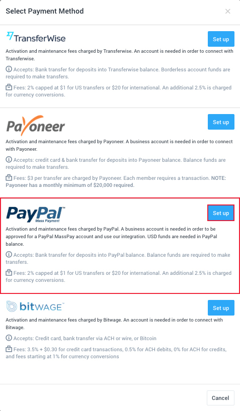 Paypal Payroll Setup in Hubstaff