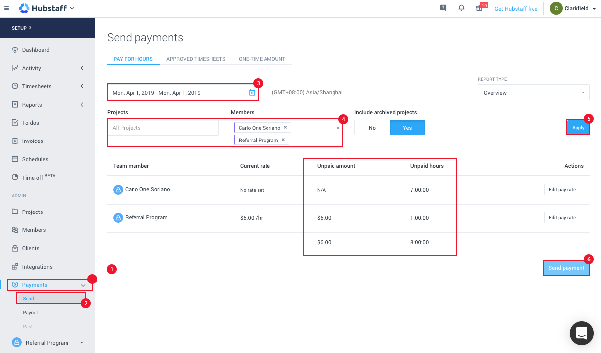 Automatic Payments and Payroll in Hubstaff