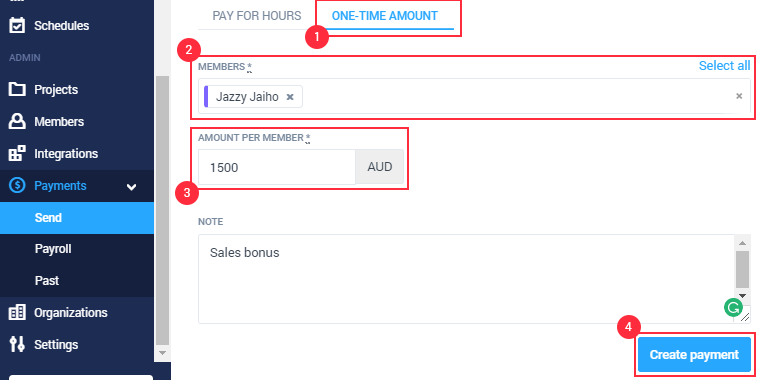 how to send a payment via payroll manually