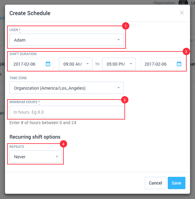 Creating A New Schedule Shift
