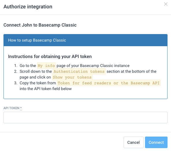 Authorize integration (connect)