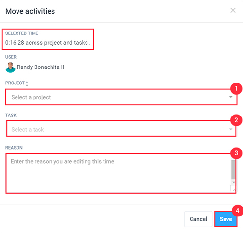 changing the project task when editing a time entry in the timesheets