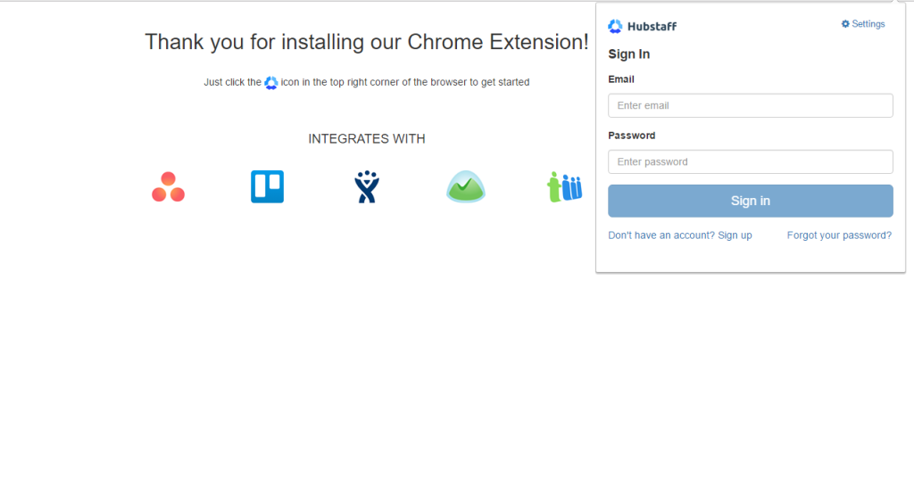 Installing the Hubstaff Chrome extension