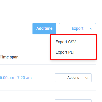 how do i export or download timesheet data