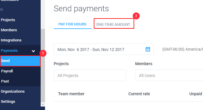 how to send a one time payment in hubstaff